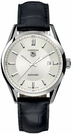 Tag Heuer Carrera Men's Watch WV211A.FC6180 TAG Heuer. $2325.00. Calibre 5 Automatic movement. 39mm case dimension. Silver dial. Black Crocodile Leather band. Polished Stainless Steel case