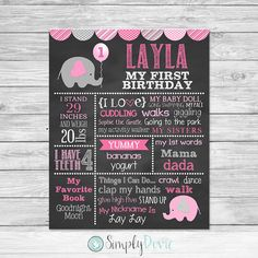 Elephant Birthday Chalkboard Printable. This is a digital file that you can print out and use as a keepsake, photo prop for your child's birthday party, a cake smash photography session or birthday photos. ***This is a digital file that is emailed and no ...