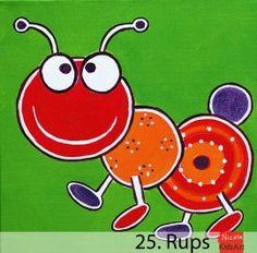 Kinderschilderij Rups. Vrolijk en kleurrijk schilderijtje, leuk als decoratie aan de muur voor de kinderkamer. Painting For Kids, Art For Kids, Whimsical Art, Ants, Yoshi, Giraffe, Decoupage, Paintings, Illustration