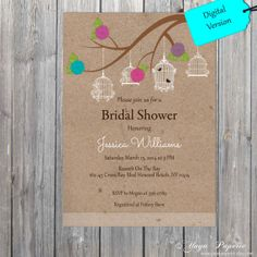 Bridal Shower rustic invitation Pink  blue purple by YuyaPaperie, $14.95