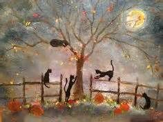 ooak painting witch and cat on sled - Yahoo Image Search Results