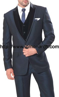 Impressive one button party wear suit made in bluish grey color polyester fabric. It has bottom as trouser.