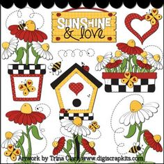 Love My Garden 2 Clip Art - Original Artwork by Trina Clark