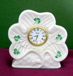 Belleek Small Mantle Clock Porcelain Shamrock Ireland Figurine, Donegal Parian China,