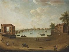 A view of the Thames at Putney Bridge, from the Fulham bank, with the Swan Inn Mid 18th C