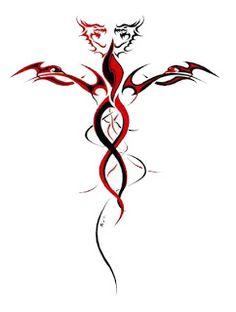 red and black tribal dragons Dragon Tattoo Calf, Dragon Tattoo Stencil, Tribal Dragon Tattoos, Celtic Dragon Tattoos, Dragon Tattoo Designs, Tribal Tattoo Designs, Tattoo Stencils, Dragon Tattoo With Cross, Life Tattoos
