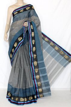Grey Blue Handwoven Bengali Tant Cotton Saree (Without Blouse) 14231 , Buy Casual Tant Sarees online, Pure Casual Tant Sarees, Trendy Casual Tant Sarees , , online shopping india, sarees , sweets, cameras, shoes, watches, appliances, apparel, sweets online in india | www.maanacreation.com