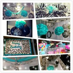 Teal and zebra print. Birthday for my girl. Took plastic table covers (walmart) and cut into two pieces and pin onto ceiling. Streamers and ballons everywhere.