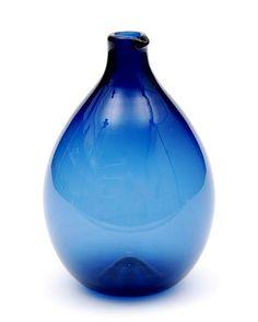 Blauw glazen Bird-bottle ontwerp Timo Sarpaneva 1956 uitvoering Iittala / Finland