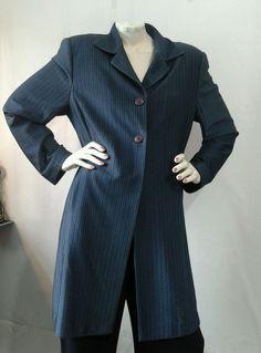 SETA womens Duster L Midnight BLUE long dress COAT evening wear viscose #SETA #DusterLongDressCoat