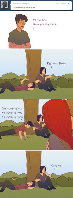 """Haha the best part of this for me is that Sirius said """"Red alert"""". Because Lily has red hair lol."""