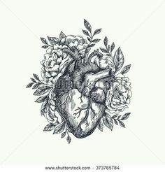 Floral heart sketch