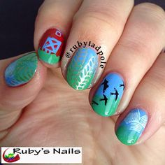 Farm scene stamping nail art using MoYou London Mother Nature Plate 09