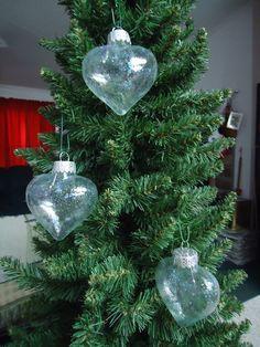 Set of 3 Iridescent Glass Heart Christmas Tree by CraftsbyCummins