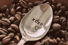 XOXO Hand Stamped Vintage Coffee Spoon