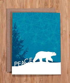 holiday card set / peace polar bear by ModernPrintedMatter on Etsy
