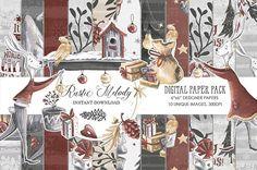 Christmas Paper Pack,  New Year Planner Stickers, Winter Bunny Designer Paper Pad, Watercolor ,Retro Xmas Digital Pad,