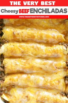 Mexican food recipes 64246732170492196 - The only recipe you'll ever need for authentic Tex-Mex beef enchiladas. Featuring ground beef enchiladas, a homemade beef gravy, and a freshly grated cheese blend. Source by TheAnthonyKitch Authentic Mexican Recipes, Easy Mexican Food Recipes, Healthy Recipes, Healthy Food, Delicious Recipes, Tex Mex Essen, Homemade Beef Gravy, Ground Beef Enchiladas, Easy Beef Enchiladas