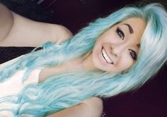 """""""Pastel blue hair! I could never pull it off but it's really pretty :)"""" -OP I like this.. Maybe summer idea ;)"""