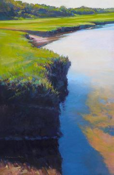 Ed Chesnovitch, landscape pastel painting, Cape Cod, East Sandwich, Provincetown, sunset, salt marsh, ocean, sunrise