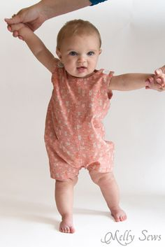 Love this for cute babies! Baby boy romper pattern with a VIDEO tutorial as well as pictures - Melly SewS
