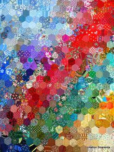 Hexagon Charm Quilt, creation Smaranda, at Quilt en Beauce, Beauce - Arts… Hexagon Quilt Pattern, Quilt Patterns, Hexagon Quilting, Hand Quilting, Diy Quilt, Liberty Quilt, Charm Quilt, Rainbow Quilt, Flower Quilts