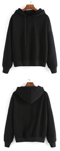 Black Hooded Long Sleeve Crop Sweatshirt - shein.com cute styles, fashion styles