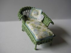 Quarter scale miniature wicker chaise by CherylHubbardMinis on Etsy White Silk, Blue And White, Cushion Fabric, Rocking Chair, Cheryl, Blue Flowers, Wicker, Love Seat, Hand Weaving