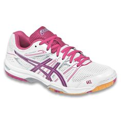 Bringing exceptional value and performanse year after year, the ASICS Gel-Rocket 7 is a classic, tried and true volleyball shoe. Volleyball Sneakers, All Volleyball, Women's Badminton, Badminton Shirt, Sneakers For Sale, Asics Women, Court Shoes, Running Shoes, Magenta