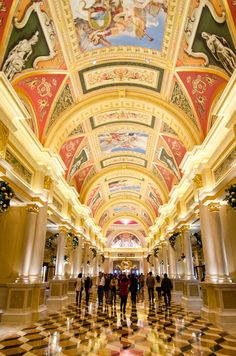 Halls of Fortune Building architecture at The Venetian casino hotel in Macau. I couldn't use a tripod here and ended up with a high ISO. Travel Around The World, Around The Worlds, Pearl River Delta, Zhuhai, Casino Hotel, Exotic Places, Places Of Interest, China, Arquitetura