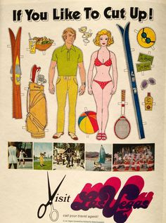 "Vintage 1970's Las Vegas promotional ad ~ ""If You Like to Cut Up"" Visit Las Vegas!"