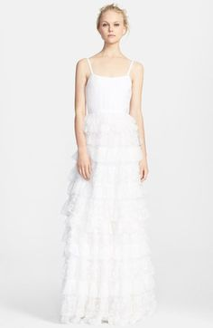 Alice + Olivia Ruffle Tiered Lace Gown:  would be beautiful for a beach or a country wedding! I could see it going both ways! Plus it's Under $800! So affordable!