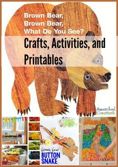 Brown Bear, Brown Bear crafts, activities, and printables - ideas and helps to make the book come to life! Bears Preschool, Preschool Colors, Fall Preschool, Preschool Literacy, Preschool Activities, Eric Carle, Book Activities, Toddler Activities, Brown Bear Activities