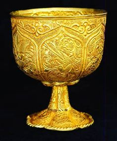 This is a Tang Dynasty gold chalice that was originally used as a wine cup. It was created about 750 A.D. and excavated in 1957 from the Heija Village in Xian, China. The same excavation also yielded a small gold bowl with extremely similar markings and gold content, which is now on display at the Metropolitan Museum in New York.  Li Pu, one of the greatest Chinese poets, who wrote during the Tang Dynasty, frequently mentioned gold wine cups, using them as symbols of happiness and luxury.