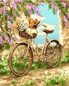 Bicycle and Flowers Painting - Paint by Numbers kit for Adults Fahrrad und Blumen malen - Malen nach Decoupage Vintage, Bicycle Painting, Bicycle Art, Bicycle Basket, Cadre Photo Diy, Marco Diy, Illustration Blume, Paint By Number, Home Decor Wall Art