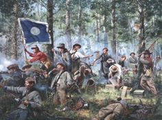 On September 20, 1863 Battle of Chickamauga, General Patrick R. Cleburne and his staff pressed forward to personally distribute ammunition to his men.  The blue flag of the Army of Tennessee is shown in the scene.  Cleburne was Irish born and known as the Robert E. Lee of the West.  This was a Confederate victory against the Union troops.