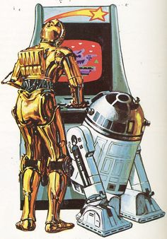 Artoo and Threepio playing an arcade machine (1983) by Paxton Holley