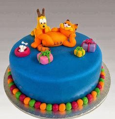 Tarta de Garfield y Oddie #cumpleanos #feliz_cumpleanos #felicidades #happy_birthday #tarta_cumpleanos #pastel_cumpleanos #birthday_cake