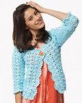 FREE PDF PTRN: INTERMEDIATE Crochet 'On the Lace Cardigan' Bernat® Satin#4 (100 g/3.5 oz; 182 m/200 yds) Sizes XS/S M L XL 2/3XL 4/5XL #04742 (Lagoon) 4 5 6 7 8 8 balls HOOK: Size 5 mm (U.S. 8) Care: MW&D