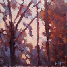 "Daily Paintworks - ""Smoldering Sunset Autumn Original Oil Painting Impressionism Heidi Malott"" - Original Fine Art for Sale - © Heidi Malott"
