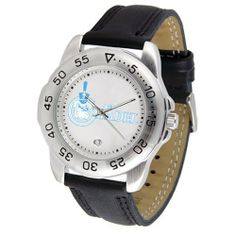 """Citadel Bulldogs NCAA """"Sport"""" Mens Watch (Leather Band) by SunTime. $42.30. Rotation Bezel/Timer. Scratch Resistant Face. Calendar Date Function. This handsome, eye-catching watch comes with a genuine leather strap. A date calendar function plus a rotating bezel/timer circles the scratch-resistant crystal. Sport the bold, colorful, high quality logo with pride."""