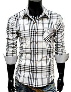 casual stripe patch checker shirt.