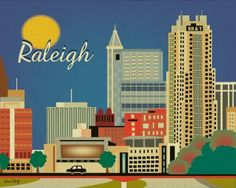 Retro Southern Skyline Prints on BourbonandBoots.com #raleigh