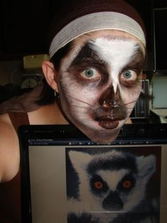 well i tried.it didn't turn out as good as i wanted it to. looks more like a racoon but i tried me as a ring tailed lemur (C) me please don't steal, edit, bash copy or repost me thank you, Animal Face Paintings, Animal Faces, Madagascar, Diy Costumes, Halloween Costumes, Costume Ideas, Kids Makeup, Makeup Ideas, Safari