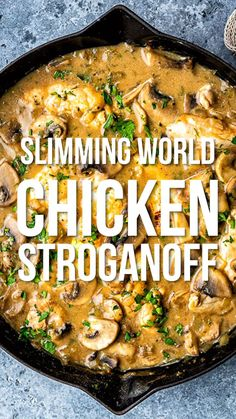 Jun 2019 - Everyone will love this Chicken Stroganoff – easy, quick and thoroughly yummy. No one will know that this is actually a Slimming World chicken recipe that's LOW SYN or SYN FREE! Ready in 30 minutes so wave goodbye to boring midweek meals. Slimming World Dinners, Slimming World Chicken Recipes, Slimming World Recipes Syn Free, Slimming Eats, Easy Chicken Recipes, Slimming World Food, Chicken Ideas, Healthy Chicken, 30 Min Chicken Meals