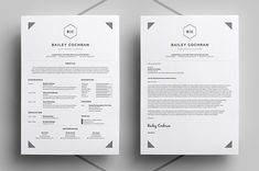 Resume/CV & Cover Letter - Easy Edit Template - includes help guide - Bailey by bilmaw creative on Creative Market Resume Tips, Resume Cv, Resume Writing, Resume Design, Writing Tips, Resume Ideas, Sample Resume, Cv Ideas, Resume Format