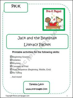 Jack and the Beanstalk Literacy Packet