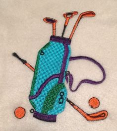 Golf Patch Applique Embroidered Apparel Clothing Club Balls Golfing Hole Course