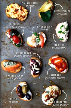 Two-bite Crostini recipes for party snacks or appetizers