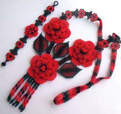 Mexican Huichol Beaded Flower Necklace and Bracelet set by Aramara Seed Bead Flowers, Beaded Flowers, Peyote Patterns, Beading Patterns, Bead Jewellery, Beaded Jewelry, Art Perle, Native American Beading, Beading Tutorials